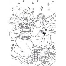 Coloriage Wallace et Gromit piquent-niquent