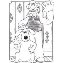 Coloriage Wallace et Gromit font coucou