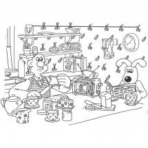 Coloriage Wallace et Gromit déjeunent