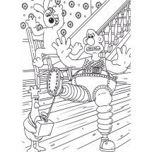 Coloriage Wallace, Gromit et Feather