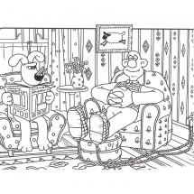Coloriage Wallace et Gromit dans le salon