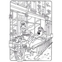 Coloriage Wallace et Gromit en moto